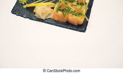 Sushi dish on white background