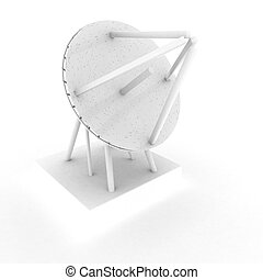 Parabolic antenna over white background