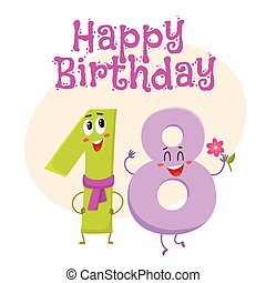 Happy birthday vector greeting card design with eighteen...