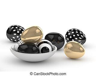 3d rendering of Easter elegant eggs lying on white table