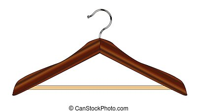 Isolated Cloths Hanger - A typical wooden cloths hanger over...