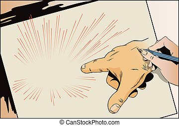 Hand of human. Pointing fingers.