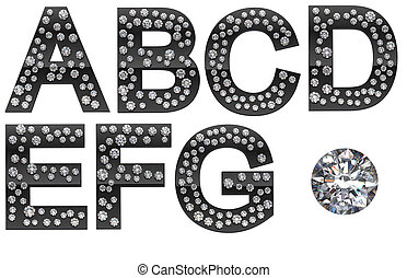 Diamond A-G letters with large gem - Diamond A, B, C, D, E,...