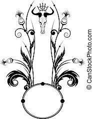 frame with thistle and skull - vector frame with thistle and...