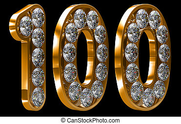 Golden 100 numeral incrusted with diamonds - Golden 100 one...