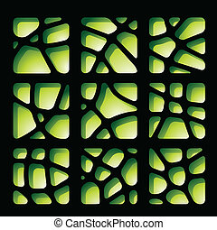 Green and Black Paper Cutouts