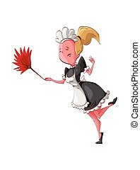 Cartoon maid cleaning