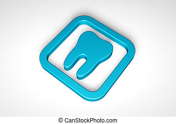 blue teeth icon isolated on white background
