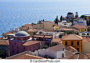 Greece, Kavala, Panagia district with different homes,...