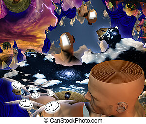 Maze of thoughts - Surreal painting. Endless dimensions....