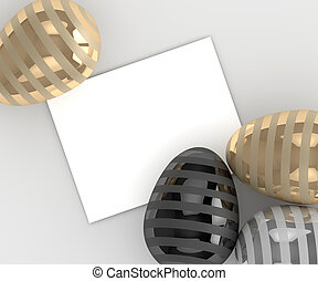 3d rendering of Easter eggs with empty card over gray...