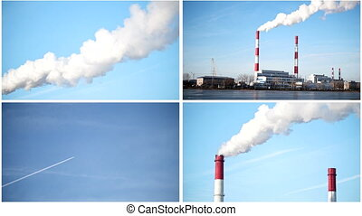 Four in one: ecology Industrial landscape - power plant at...