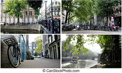 Four in one: Amsterdam concept - bicycle, canals at sunny...