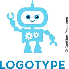 Robot logo template. Cute logotype isolated on white background. Future technologies theme. Vector concept symbol.