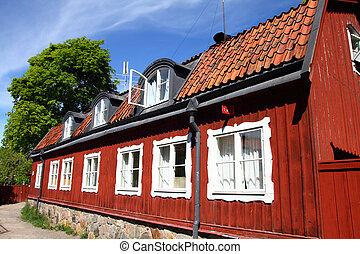 Sweden - Stockholm, Sweden Old, typical Scandinavian house...