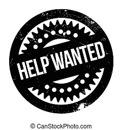 Help Wanted rubber stamp. Grunge design with dust scratches....
