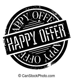 Happy Offer rubber stamp. Grunge design with dust scratches....