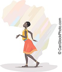 African girl dancing on African continent background
