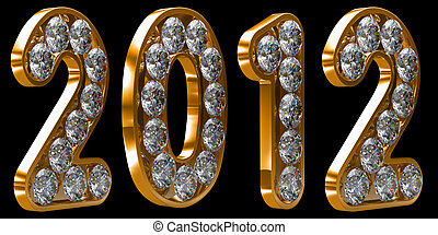 Golden 2012 year incrusted with diamonds. Other numbers are...