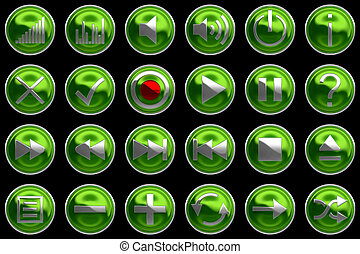Round green Control panel icons or buttons