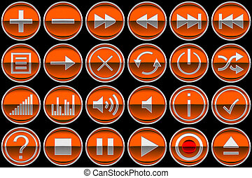 Round orange Control panel icons or buttons