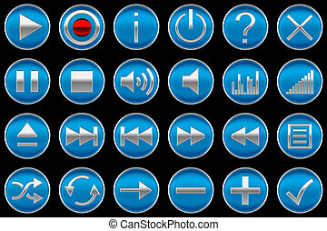 Round blue Control panel icons or buttons