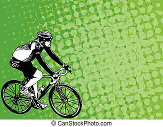 race bicyclist on the abstract background