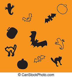 Haloween seamless background, part 4, vector illustration