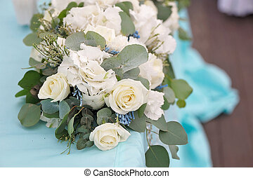 Decoration for the wedding ceremony. Flowers closeup