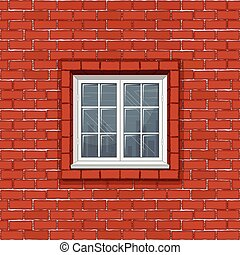Red Brick Wall with Classic White Window Frame
