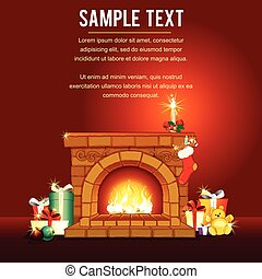 Christmas card with Decorated Fireplace. Vector