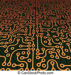 Perspective Circuit Board Vector Image