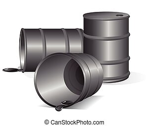 Empty Oil Barrels. Vector Image