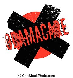 Obamacare rubber stamp. Grunge design with dust scratches....