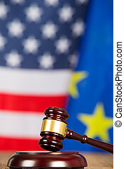 Judge s hammer - Judge hammer with United States flags and...