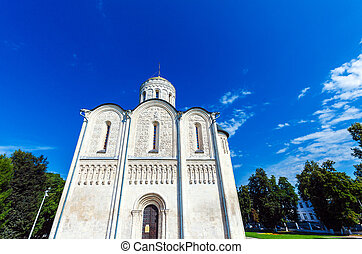 Dormition Cathedral (1160) in Vladimir, Russia - White stone...