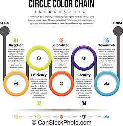 Circle Color Chain Infographic - Vector illustration of...