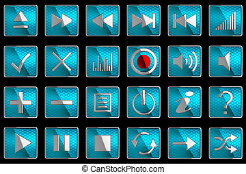 Square blue Control panel icons or buttons