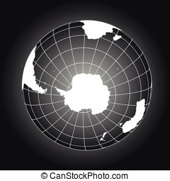 Antarctica and South Pole map in black and white -...