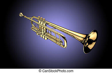 Trumpet on purpel background
