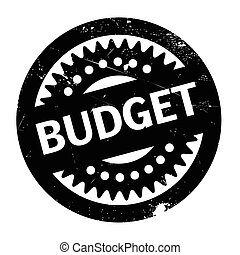 Budget rubber stamp. Grunge design with dust scratches....