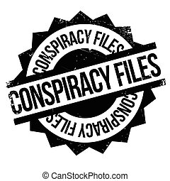 Conspiracy Files rubber stamp. Grunge design with dust...