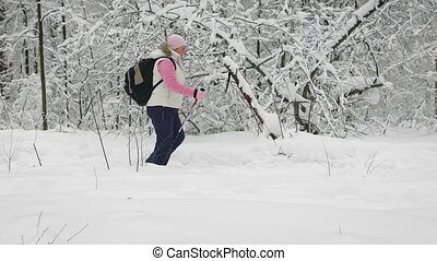 Side view of active woman doing nordic walking with ski poles on the path in winter nature outdoors. Retired lady is having picnic in the forest and stepping quickly through the forest.