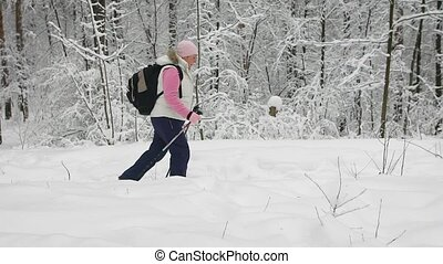 Woman dressed in warm sports clothes with a backpack actively walking on a footpath in the forest holding in her hands a special sticks for fitness. Lots of snow on the background.