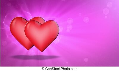 Two lovers hearts. Happy Valentine's Day. 3D animation. -...