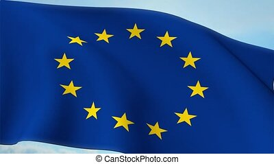 Euro Europe Flag Closeup Waving Against Blue Sky Eurozone EU...