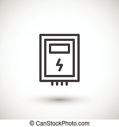 Electric box line icon isolated on grey. Vector illustration