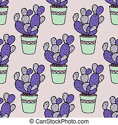 Vector Cactus Background. Seamless Pattern. Exotic Plant. Tropical.