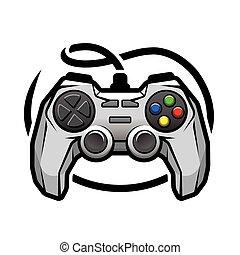 Gamepad logo. - Gamepad logo Video game symbol. Vector...