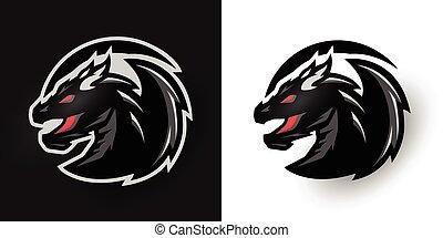 Round dragon logo. Two options. - Round dragon logo Two...